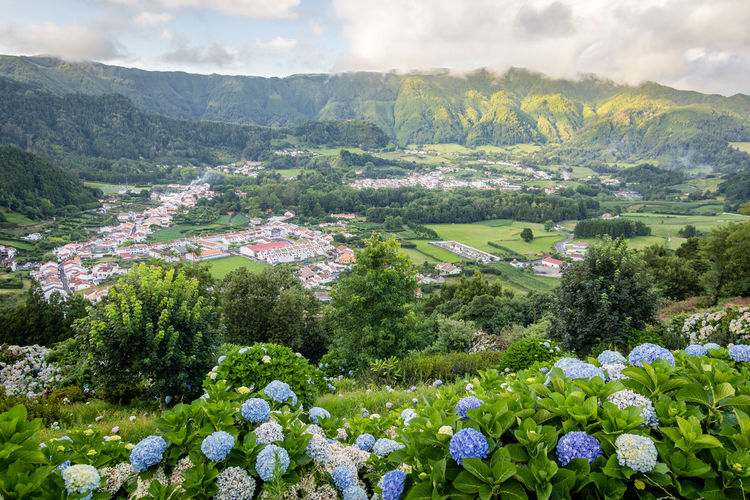 Scenic view of furnas town on sao miguel island, azores, from the viewpoint lombo dos milhos