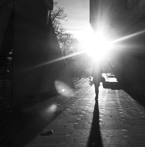 Silhouette of person walking on sun