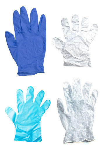 Digital composite image of hand against white background