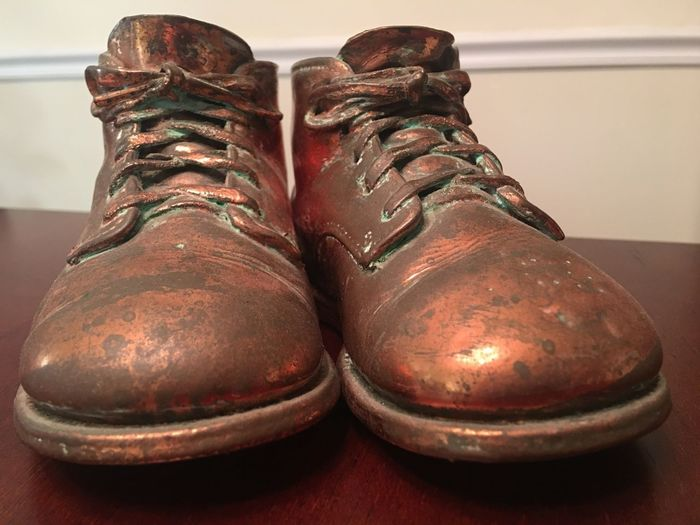 Shoe Close-up Pair Baby Shoes Bronze Bronzed Shoes Sentimental Sentimental Values Of Life Sentimental Objects