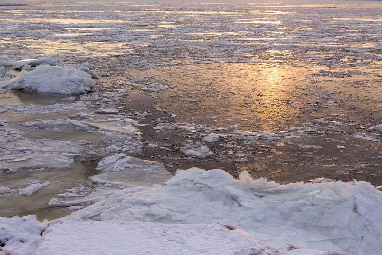 High angle view of frozen sea shore