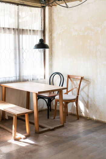 Wooden table in room at home