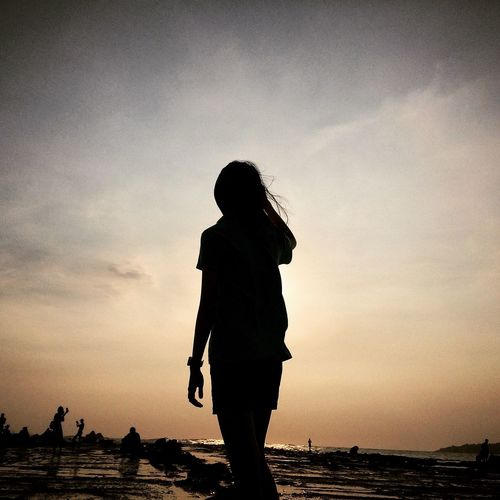 Life is shaped by hope. When you lose hope, your life is meaningless. Silhouette Sunset Sky One Person Standing Beach