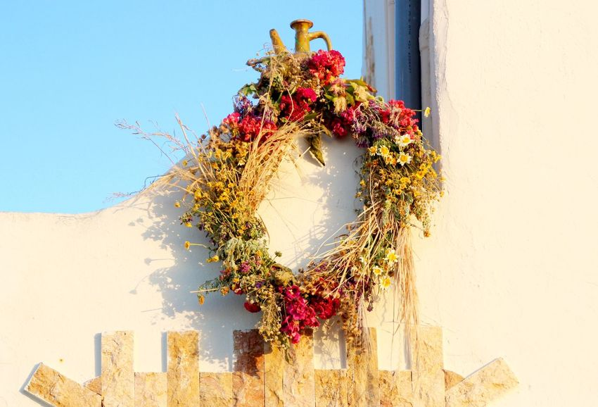 Beauty In Nature Blooming Blossom Built Structure Close-up Day Decoration Flower Fragility Growing Growth In Bloom Low Angle View Nature No People Outdoors Pink Color Plant Red Sky Wreath