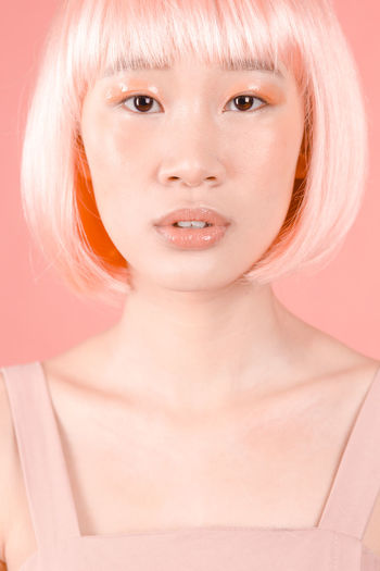 lab 1 Pink Color Salmon Colored Makeup Wig Studio Shot Portrait Looking At Camera One Person Front View Young Adult Only Women Adult One Woman Only Close-up Beauty Futuristic Love Yourself This Is My Skin The Fashion Photographer - 2018 EyeEm Awards The Portraitist - 2018 EyeEm Awards The Creative - 2018 EyeEm Awards