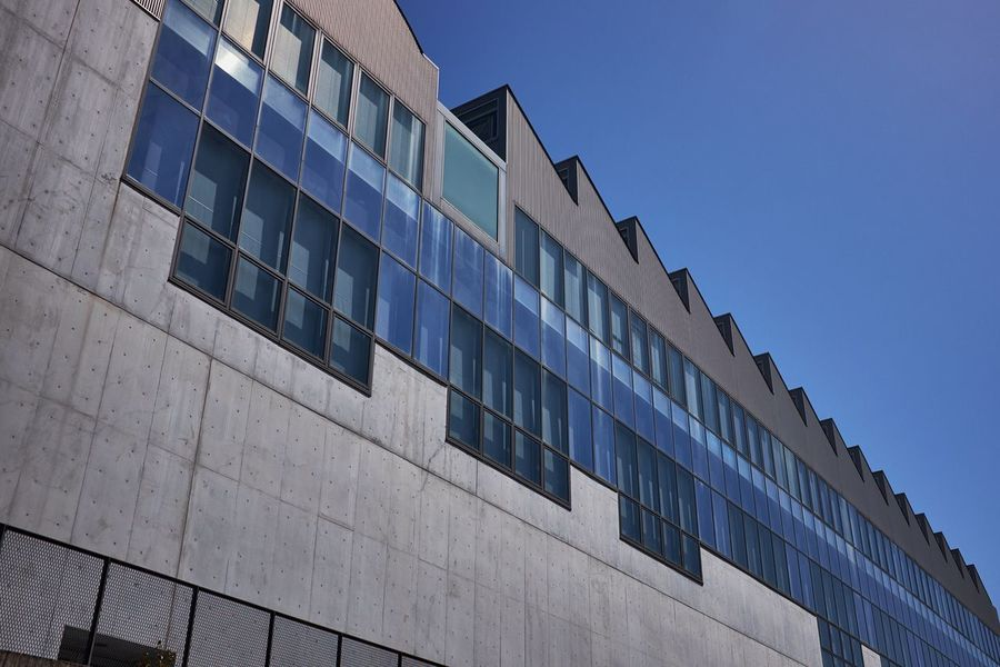 Factory Factory Architecture Industrial Industrial Architecture Building Facility Blue Sky Wall Building Exterior Metal Metallic Lookingup Modern Architecture Lines Perspective