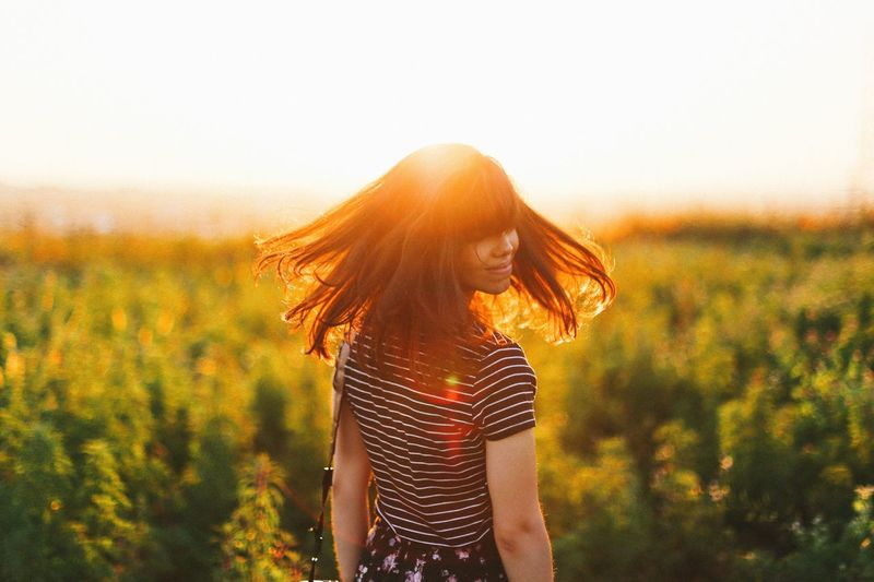 Feel The Journey Feel the sun. Sun Sunset Girl Portrait Sunny Hair Field Candid Traveling Light Nature Natural Girl Power Flare Light Leak Natural Light Portrait Showcase June Colour Of Life