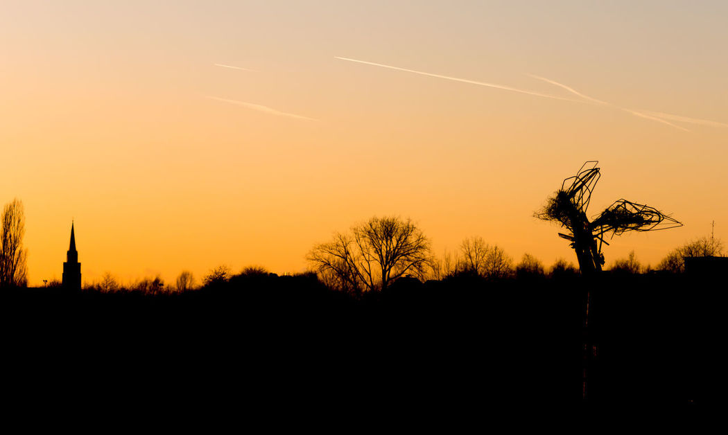 Walking in De schorre Art Beauty In Nature Church Landscape Nature No People Orange Color Outdoors Scenics Shillouette Shilouette Silhouette Sky Statue Sunset Tranquility Tree