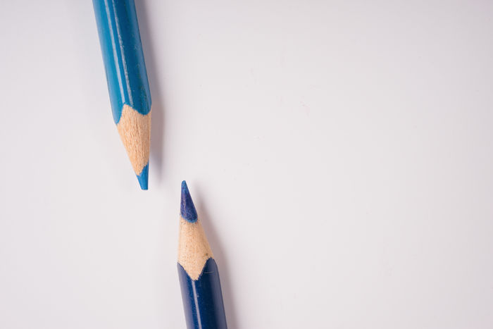Blue Close-up Colored Pencil Copy Space Education No People Pencil Pencil Drawing Pencil Sharpener Pencil Shavings Studio Shot White Background Wood - Material Yellow