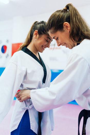Beautiful woman practicing karate