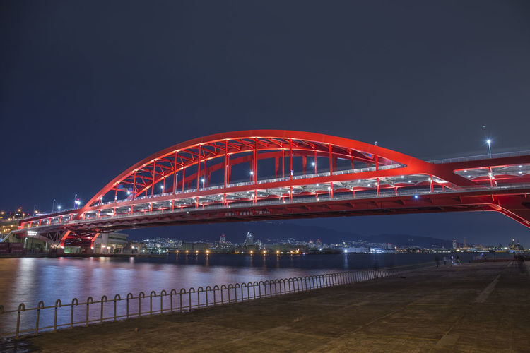 city night in japan Architecture Bridge Bridge - Man Made Structure Built Structure City Connection Illuminated Light Long Exposure Motion Nature Night No People Outdoors Red Sky Street Transportation Travel Destinations Water