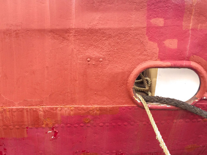 Red Built Structure Metal Close-up Full Frame Hole Backgrounds Wall - Building Feature Ship