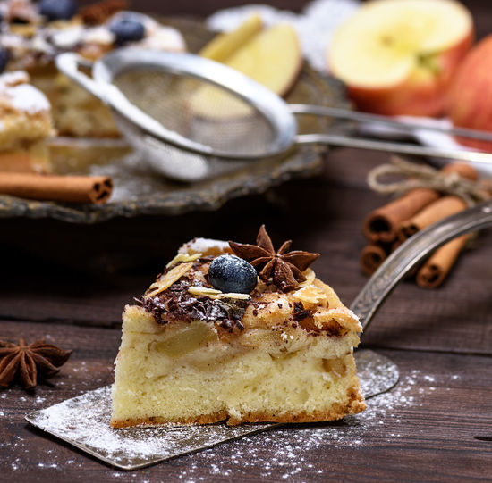 Food And Drink Food Sweet Food Dessert Sweet Kitchen Utensil Indulgence Freshness Cake Baked Eating Utensil Table Ready-to-eat Still Life Temptation Focus On Foreground Indoors  Close-up Fruit Unhealthy Eating No People Powdered Sugar Tart - Dessert