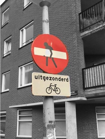 Road Sign Building Exterior Built Structure Low Angle View Architecture No People City Outdoors Day Close-up Amsterdam 愛アムステルダム What Do You Mean? Dutch Joke
