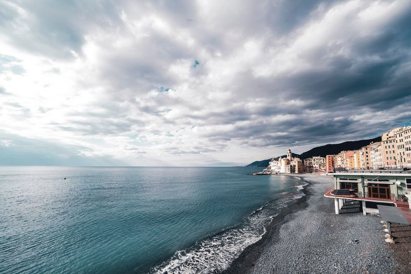 Camogli Cloud - Sky Sky Water Sea Beach Beauty In Nature Nature No People Built Structure Seat Outdoors Tranquility Horizon Over Water Chair Tranquil Scene Architecture Horizon Scenics - Nature Land Day