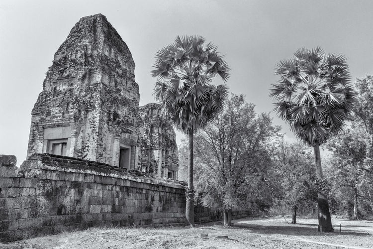 Historic temple by trees against sky