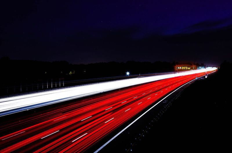 Everywhere you go, leave your print. Cars Motion Long Exposure Speed Light Trail Road Night Red Sky City Life The Way Forward Lines Illuminated Outdoors Dark Darkness And Light Light And Shadow Light Photography Photooftheday Photo Art ArtWork Film City