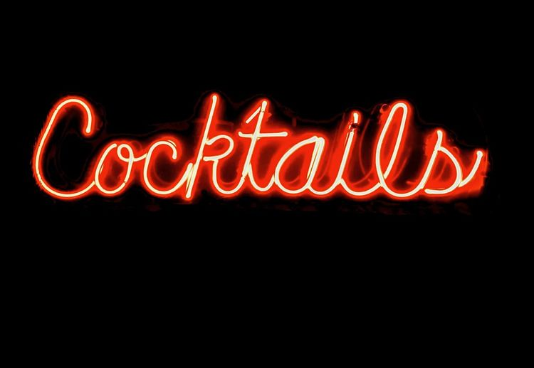 Cocktail Alcohol Black Background Bright Business Commercial Sign Communication Consumerism Dark Food And Drink Glowing Illuminated Lighting Equipment Neon Night Nightlife No People Orthographic Symbol Outdoors Red Restaurant Sign Single Word Text Western Script