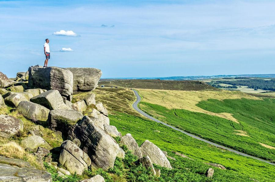 Rocks with a view. Man Man Standing Rocks Male Adult Stanage Edge Derbyshire Peak District  Scenery Rocks Landscape Countryside Dales Landscape Great Outdoors Country Road Hiking Breathtaking View Heights Cliff Edge Adventure Uk England Peak District  Lost In The Landscape Go Higher