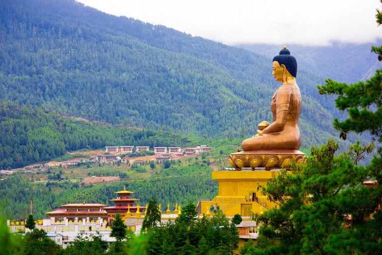 Buddha temple by mountains