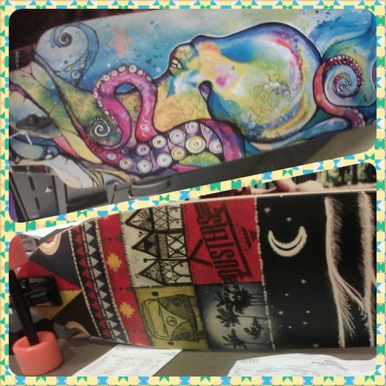 Awesome new boards at work Dusters Longboard Skate Octopus California vw