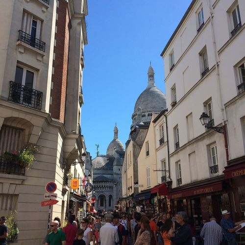 Sacré-Coeur Sacré-Cœur De Montmartre Adult Architecture Building Exterior Built Structure City Clear Sky Crowd Day Large Group Of People Lifestyles Men Outdoors People Place Of Worship Real People Sky Statue Women