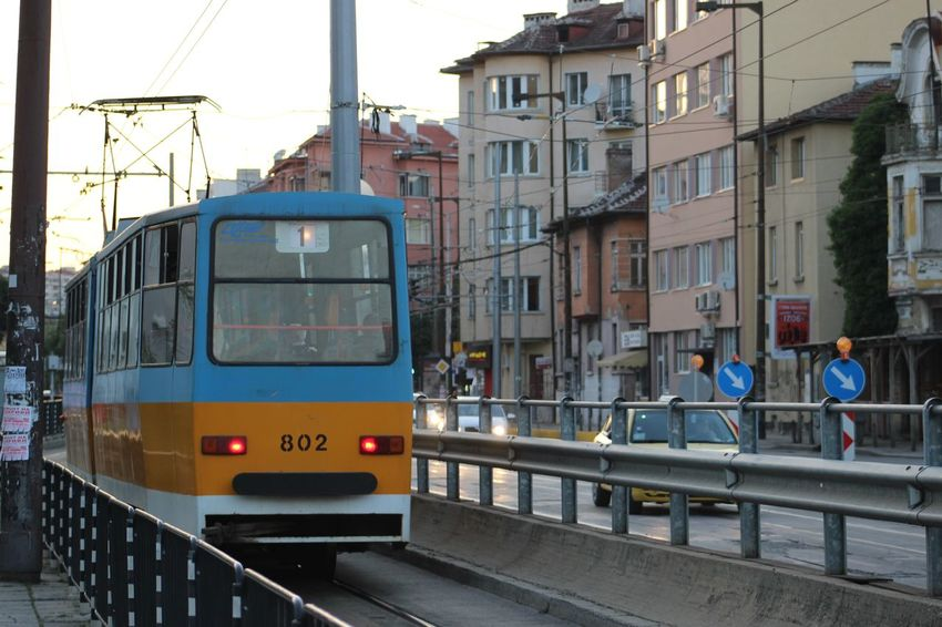 Bus Cable Car City City Life Day Journey Land Vehicle Mode Of Transport No People Outdoors Passenger Train Public Transportation Railroad Track Sky Sofia, Bulgaria Street Train Train - Vehicle Tram Transportation Yellow