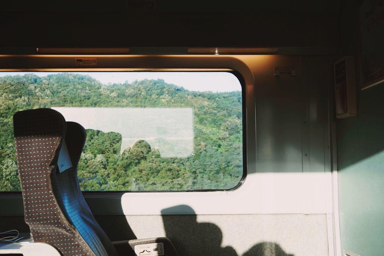 Sunlight on vehicle seat in train