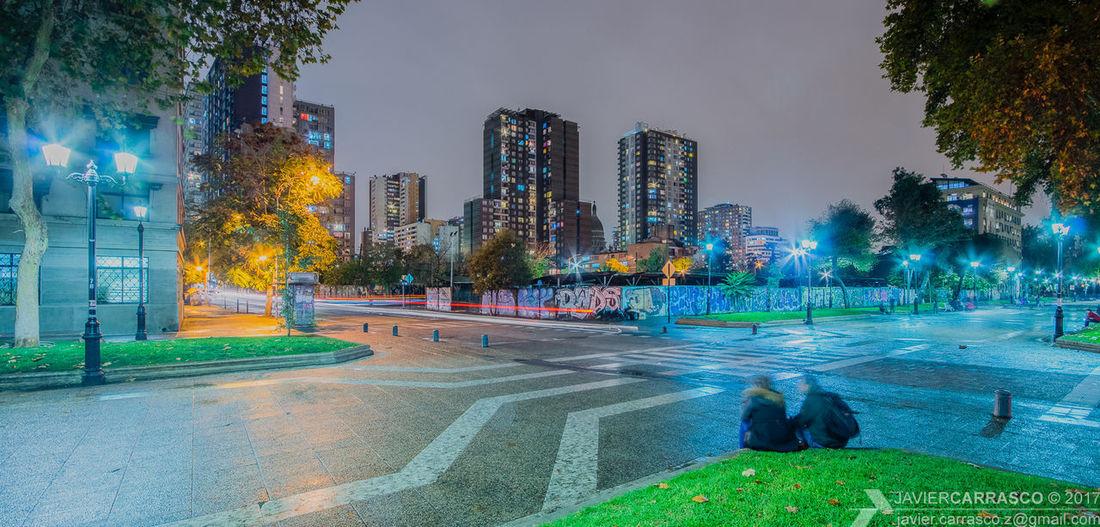 Bulnes public walkway during a rainy night
