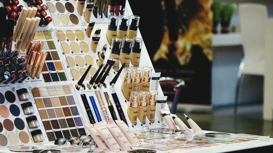 Makeup Make-up Backgrounds Original Colors Colorful Design No People Cosmetics Cosmetic Glamour Business Finance And Industry Store For Sale Close-up Color Swatch Display Interior Designer Palette Window Display Collection Stall Retail Display Shop Market Stall Various Market Price Tag