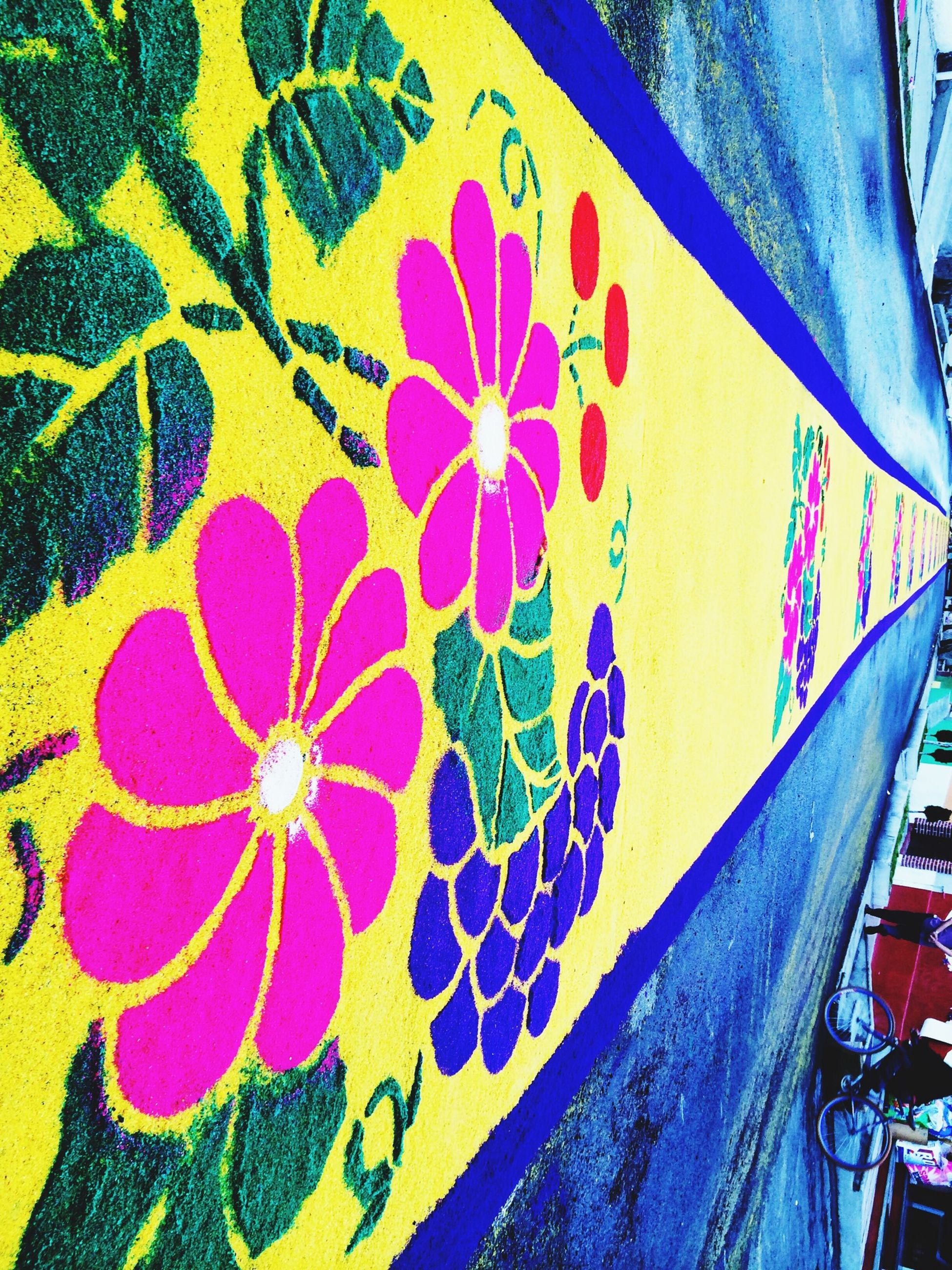 art, creativity, art and craft, indoors, multi colored, design, pattern, floral pattern, textile, graffiti, fabric, wall - building feature, full frame, high angle view, backgrounds, blue, close-up, textured, no people, craft