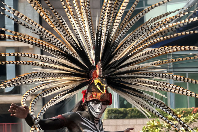 Arts Culture And Entertainment Day Indoors  No People Architecture Close-up Dancing Costume Face Paint 2017 Cdmx Day Of The Dead Dia De Los Muertos Parade Feathers Penacho Quetzalcoatl Snake This Is Latin America