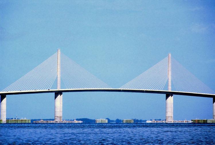 Architecture Blue Built Structure Modern Saint Petersburg Florida Sunshine Skyway Bridge Tampa Bay Tourism Travel Destinations Water Waterfront