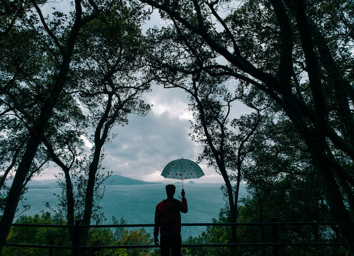 Rear view of woman standing by tree during rainy season
