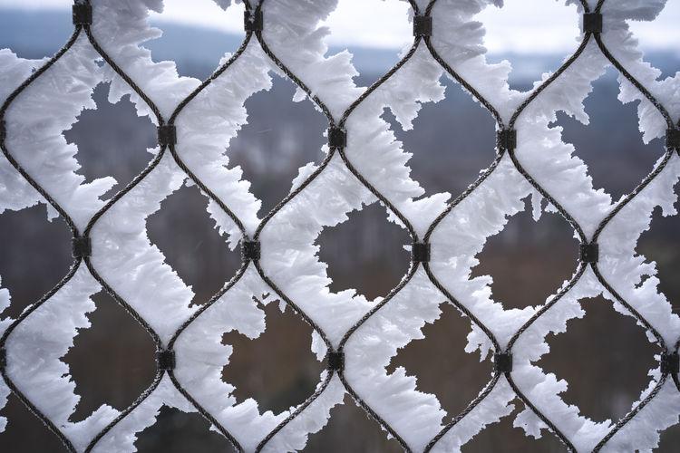 Full frame shot of snow on metal fence