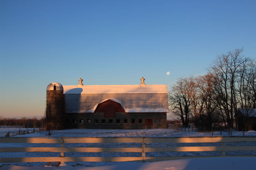 following the setting moon on the way to work - taking the scenic route Barn Field Moon Architecture Building Exterior Built Structure Clear Sky Cold Temperature Fence Moon Setting Morning Light Shadow And Light No People Outdoors Snow Supermoon Upstate New York Winter