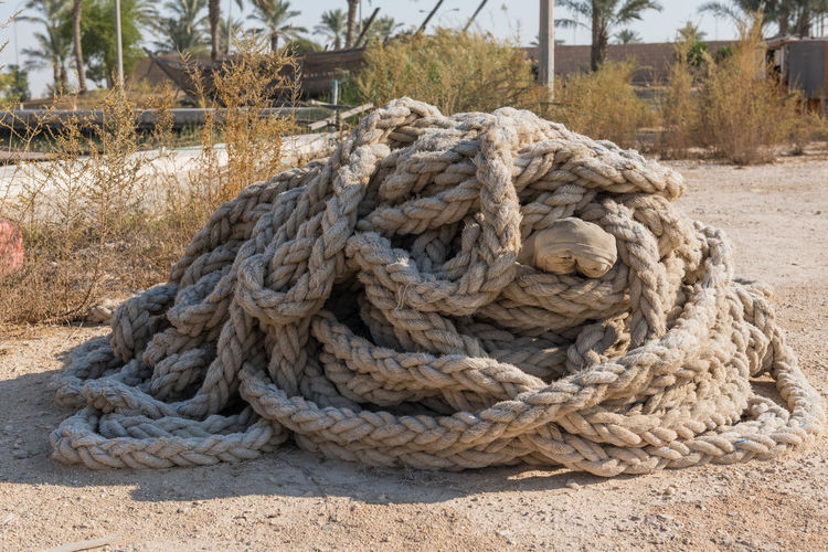 Close-up of rope on the ground