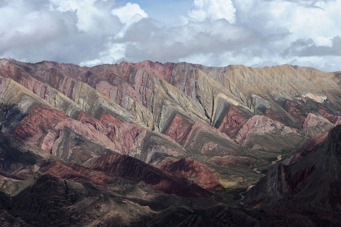 Andes Argentina Arid Climate Beauty In Nature Cloud - Sky Day Geology Hornocal Humahuaca Landscape Mountain Mountain Range Nature No People Outdoors Physical Geography Scenics Sky Tranquil Scene Tranquility
