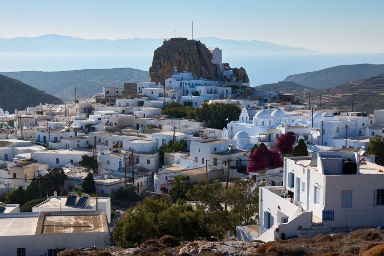 Amorgos Chora Windmill Amorgos Amorgos Chora Architecture Building Building Exterior Built Structure City Cityscape Community Day Greece High Angle View House Mountain Mountain Range Nature No People Outdoors Plant Residential District Sky Town TOWNSCAPE