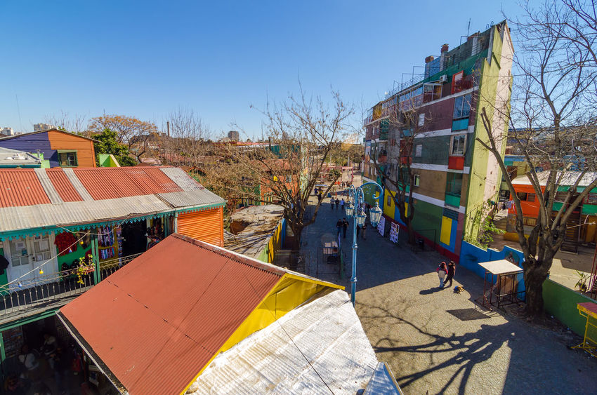 View of Caminito in La Boca neighborhood in Buenos Aires, Argentina Argentina Background Blue Buenos Aires Building Caminito Cityscape Color Colorful Colors Corrugated House La Boca Landmarks Latin Latino Latinoamerica Metal Pattern Sky Tango Texture Vintage Walls Window