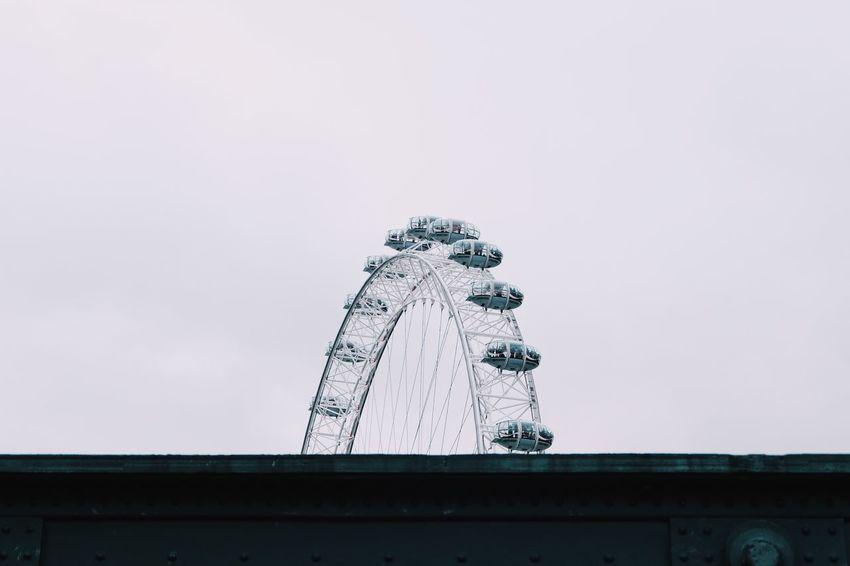 London Eye Amusement Park Low Angle View Built Structure Copy Space Architecture Sculpture Amusement Park Ride