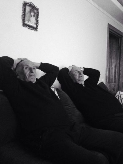 Grandpas are watching movie 🙈😂😍 Senior Adult Two People Indoors  Mature Adult Senior Men Sitting Mature Men Men Adults Only Only Men Home Interior Real People Adult Uncomfortable People Day