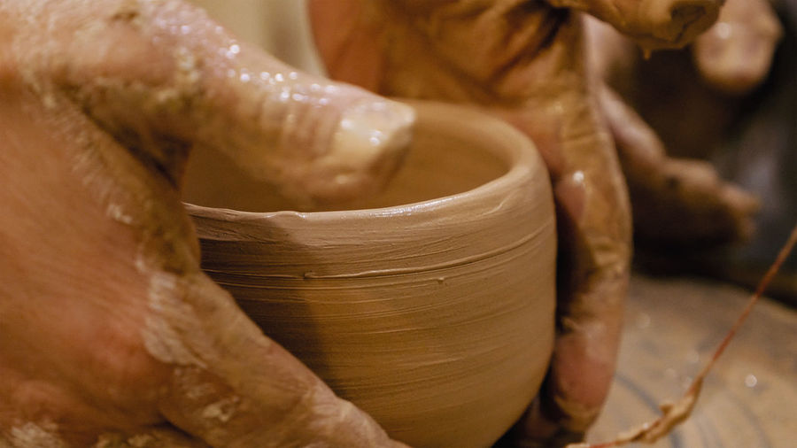 Clay Clay Art Clay Work Claypot Close-up Day Earthenware Indoors  No People Skill  Working Business Stories
