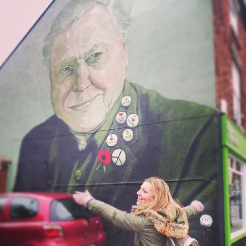 Sheffield has some great new ArtWork ont streets. Love for sir DavidAttenborough ^___^