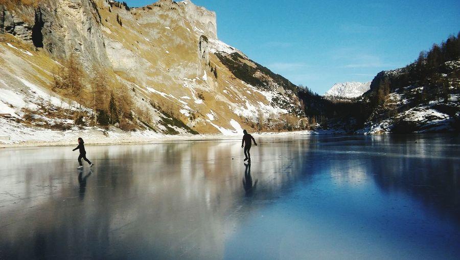 Blue Sky Frozen Idyllic Water Mountain Snow Lake Cold Temperature Winter Reflection Full Length Winter Sport