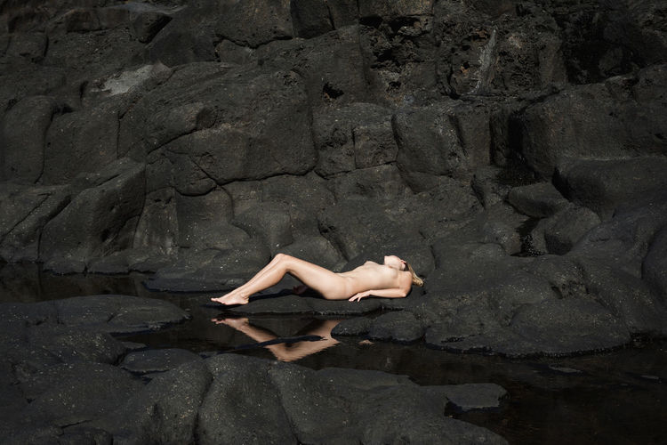 Volcanic View Tenerife Sunbathe Nude-Art Naked_art Body & Fitness Black Rocks Reflection Pretty Girl Gorgeous Woman Volcanic Landscape Coastline Vacations Linas Was Here