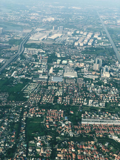 Aerial view of city and buildings
