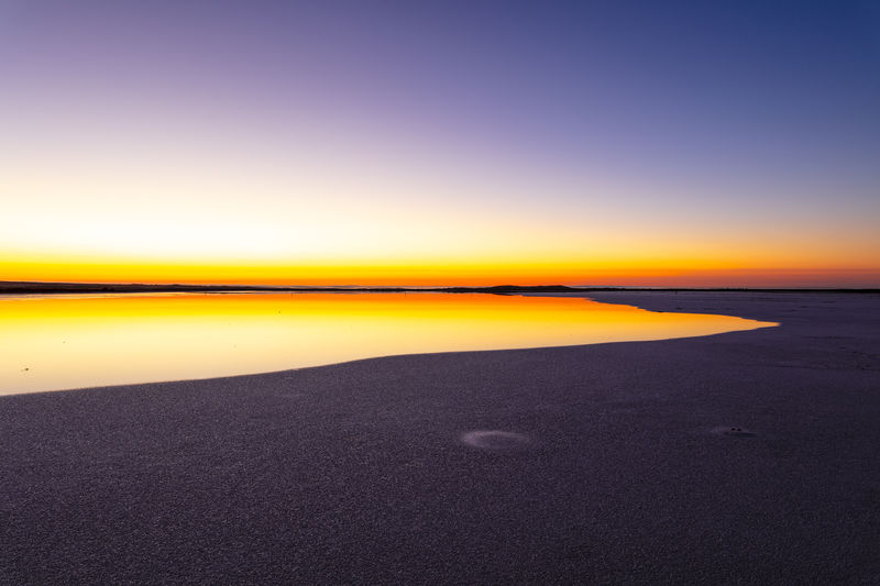 Sky Water Tranquil Scene Tranquility No People Horizon Orange Color Salt Flat Land Dawn Sunrise