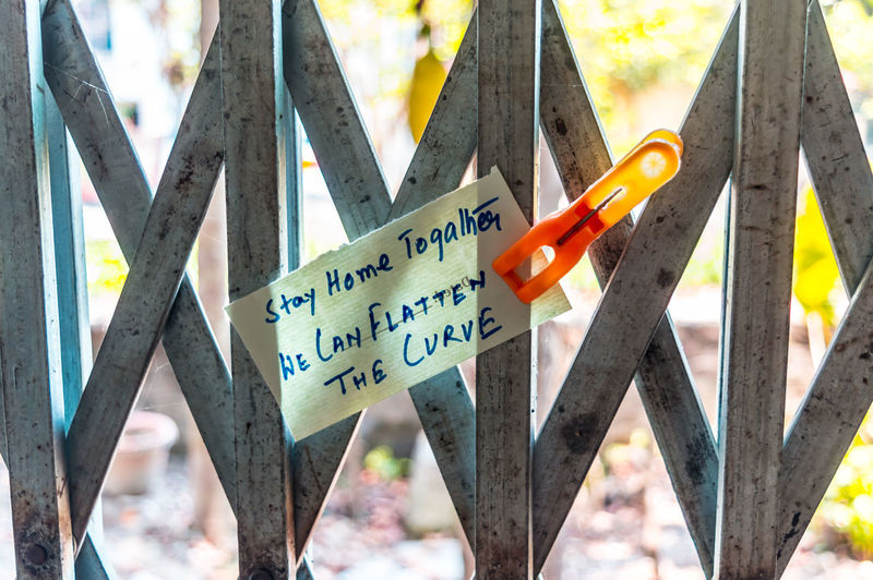 Close-up of text on wooden fence