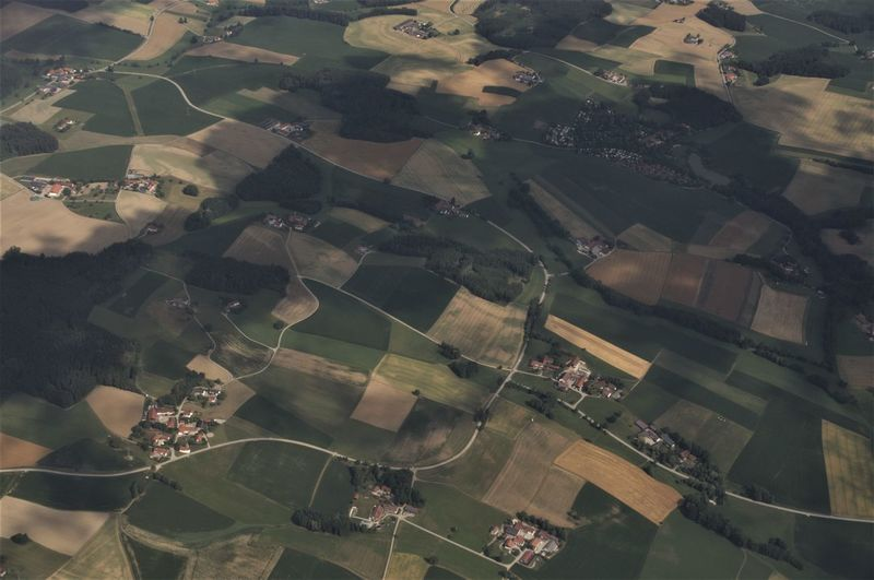 Cloudy Roads Aerial View Agriculture Airplane Beauty In Nature Day Germany High Angle View Landscape Nature No People Outdoors Patchwork Landscape